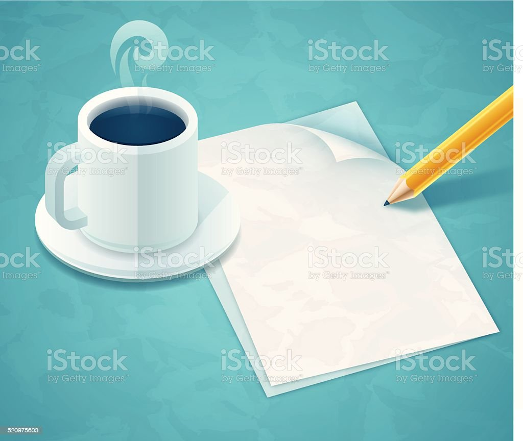 Writing a Letter vector art illustration