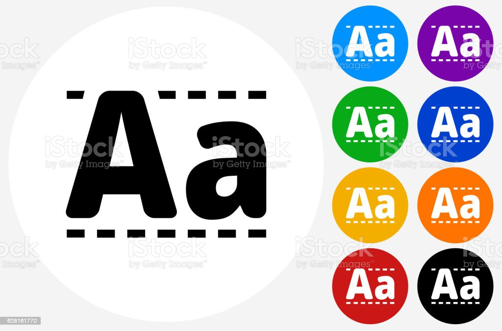 Writing Alphabet Icon on Flat Color Circle Buttons vector art illustration