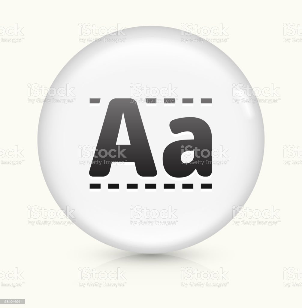 Writing Alphabet icon on white round vector button vector art illustration