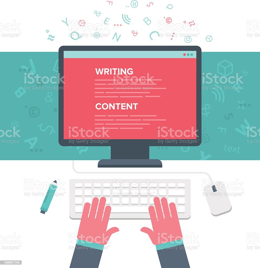 Writing an Article vector art illustration