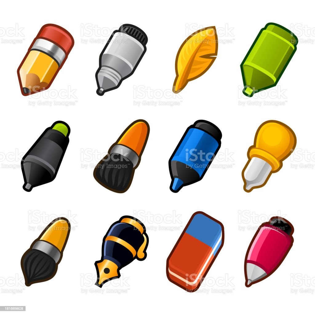 Writing and Drawing tools icon set royalty-free stock vector art