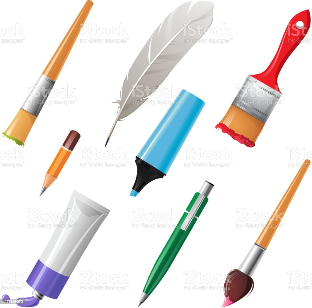 Writing and painting tools royalty-free stock vector art