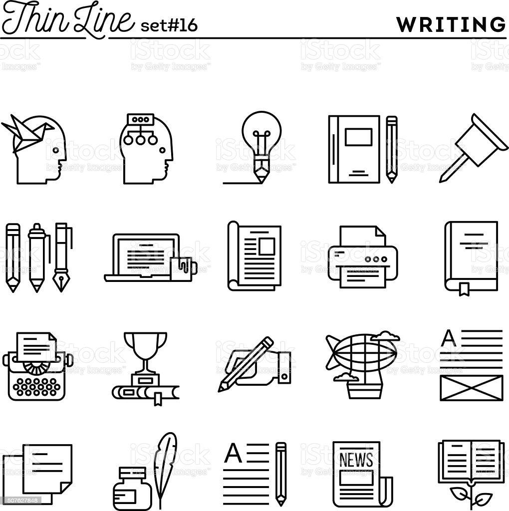 Writing, blogging, best seller book, storytelling and more vector art illustration
