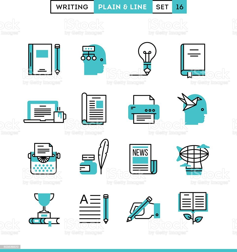 Writing, blogging, bestseller book, storytelling and more. vector art illustration