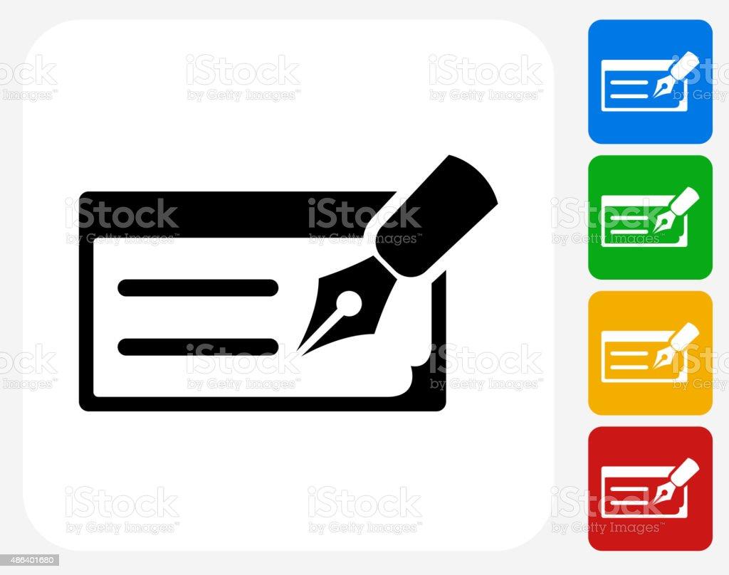 Writing Check Icon Flat Graphic Design vector art illustration