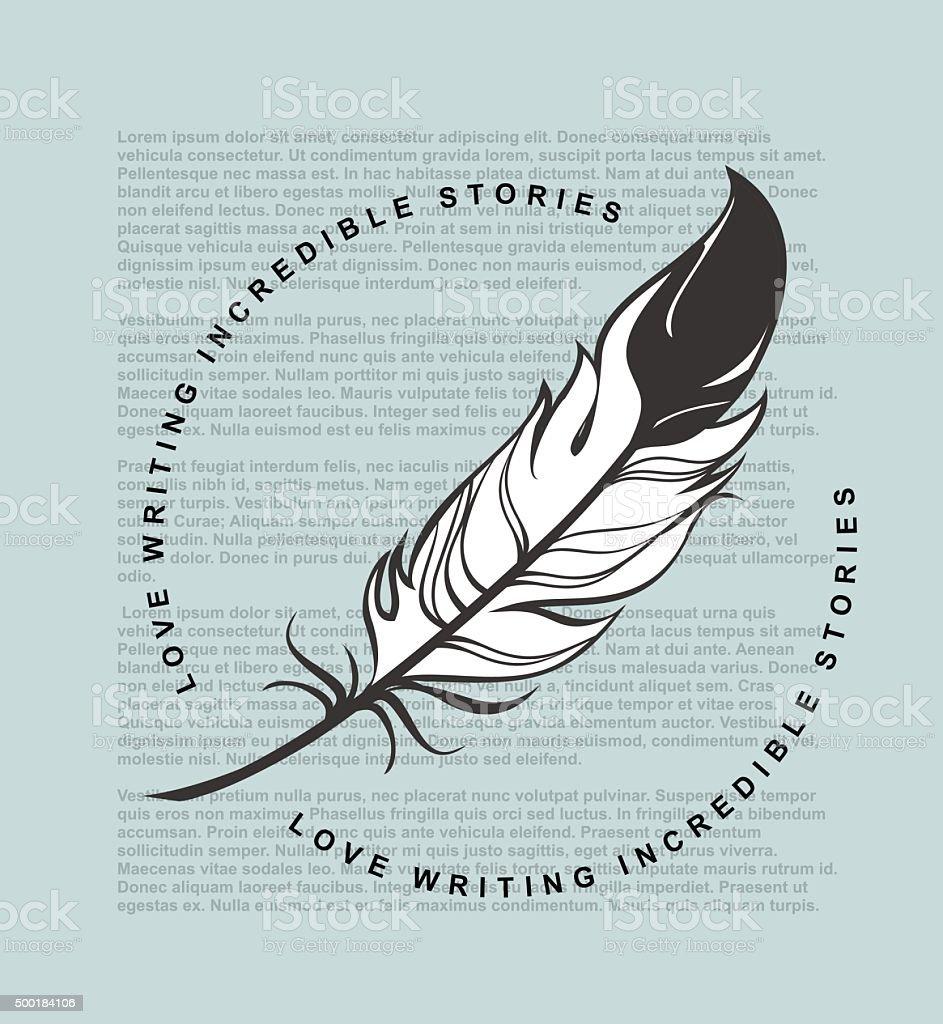 Writing feather emblem vector art illustration