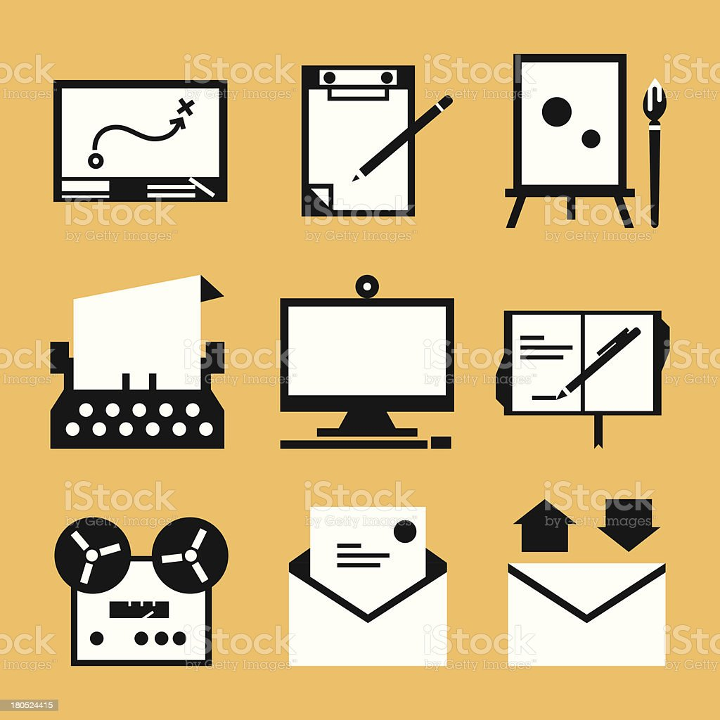 writing icons design royalty-free stock vector art