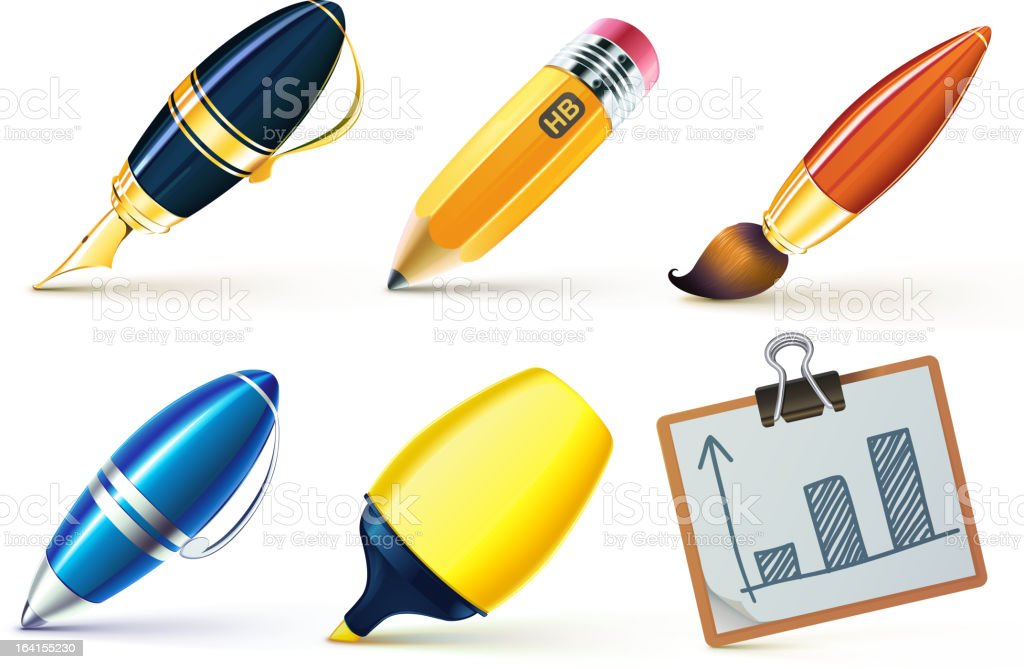 writing implements royalty-free stock vector art