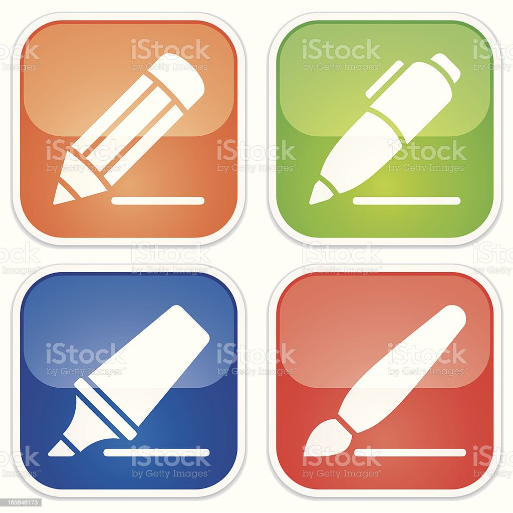 writing instrument miniset - Quadro Glossy.jpg royalty-free stock vector art