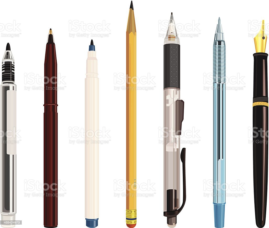 writing instrument vector art illustration