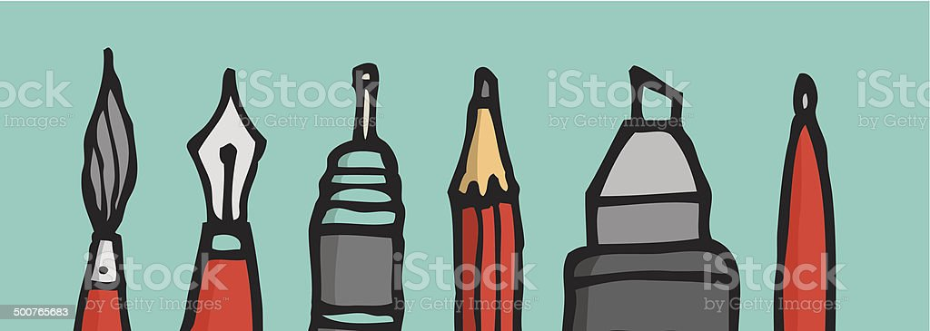 Writing instruments tips vector art illustration