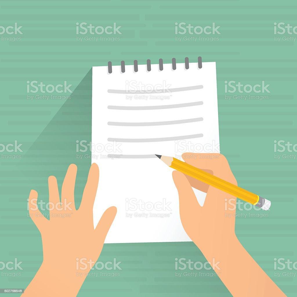Writing on paper vector art illustration