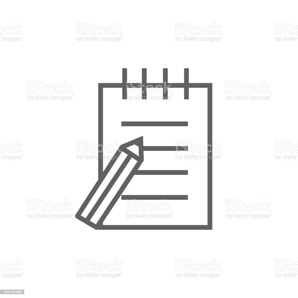 Writing pad and pen line icon vector art illustration