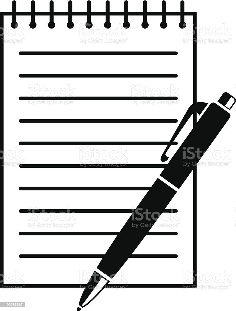Writing pad and pen vector art illustration