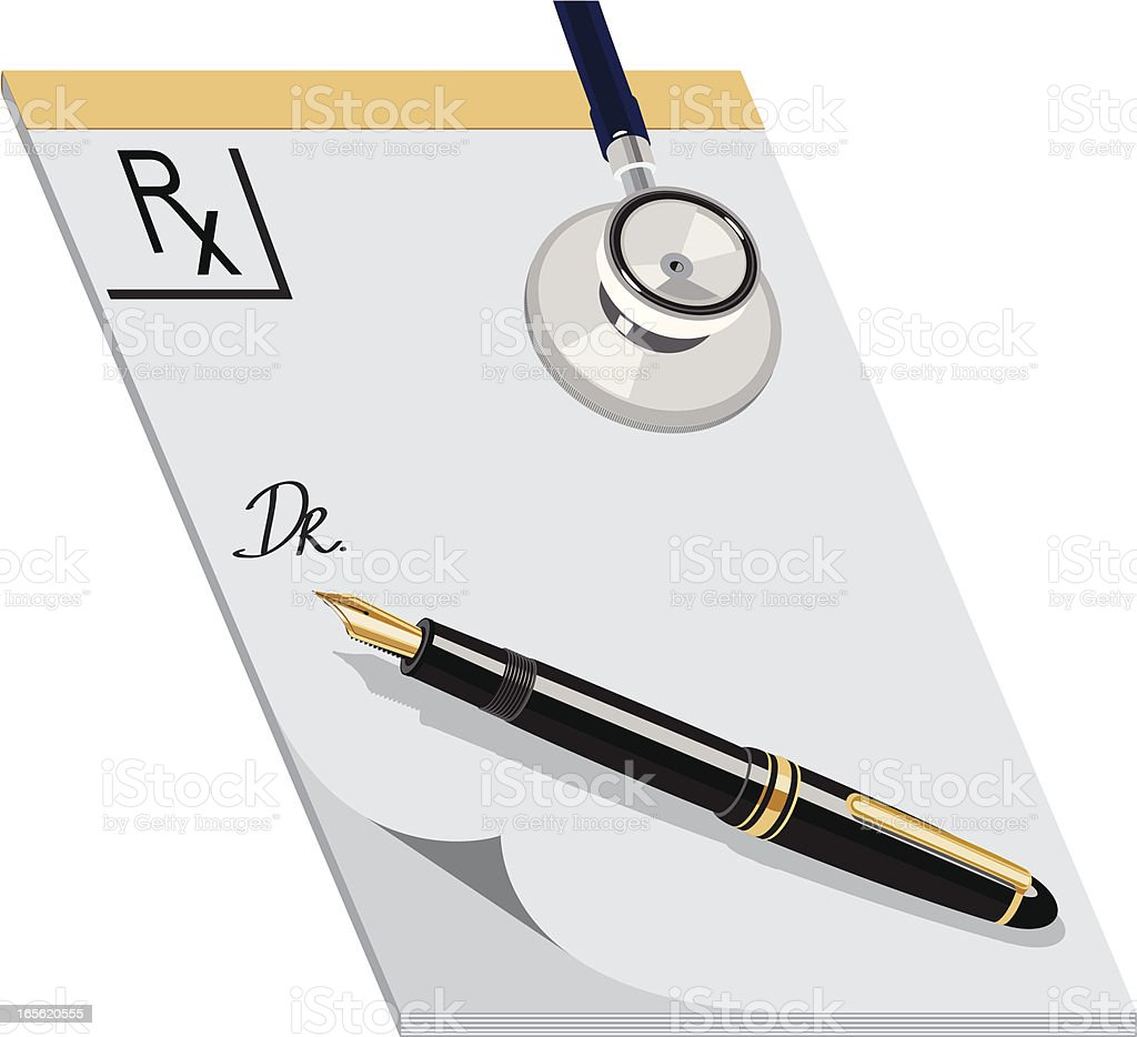 Writing prescription royalty-free stock vector art