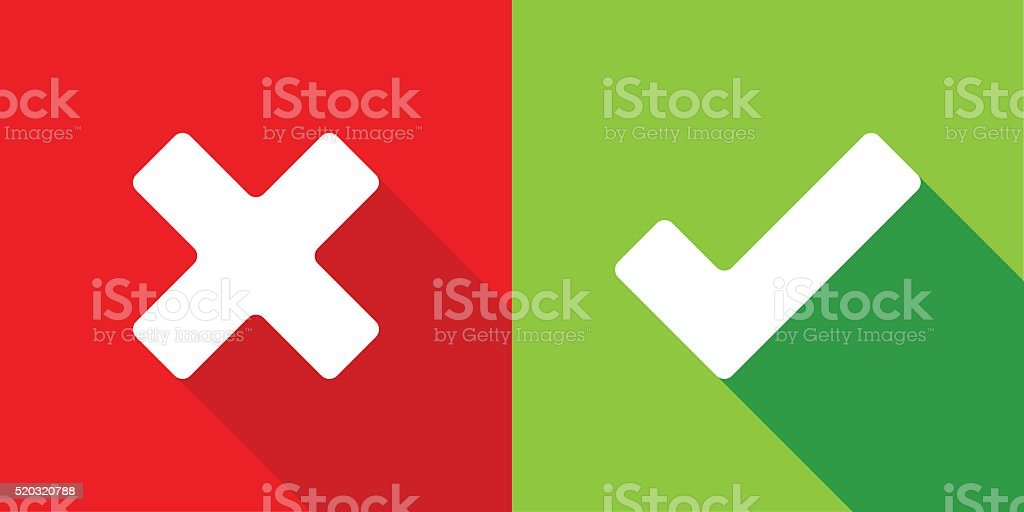 Wrong and right check mark stock photo