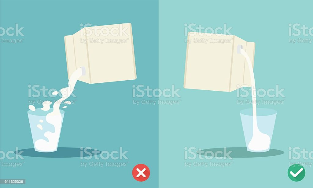 wrong and right for pouring milk vector art illustration