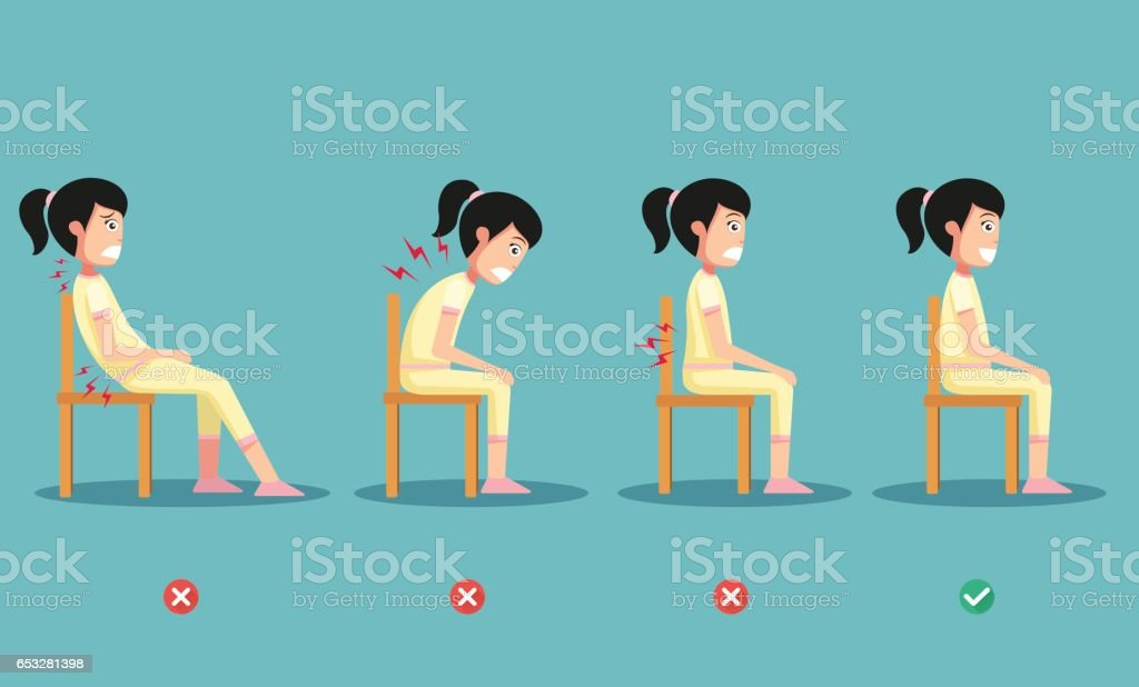 wrong and right ways positions for sitting,illustration vector art illustration