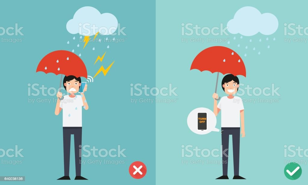 Wrong and right ways.Do not phone call while raining  illustrati vector art illustration