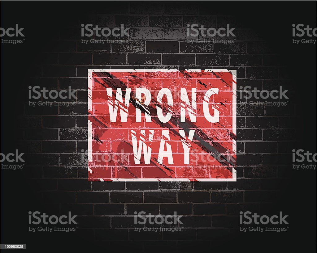 Wrong Way | Brick Wall Grunge Background royalty-free stock vector art