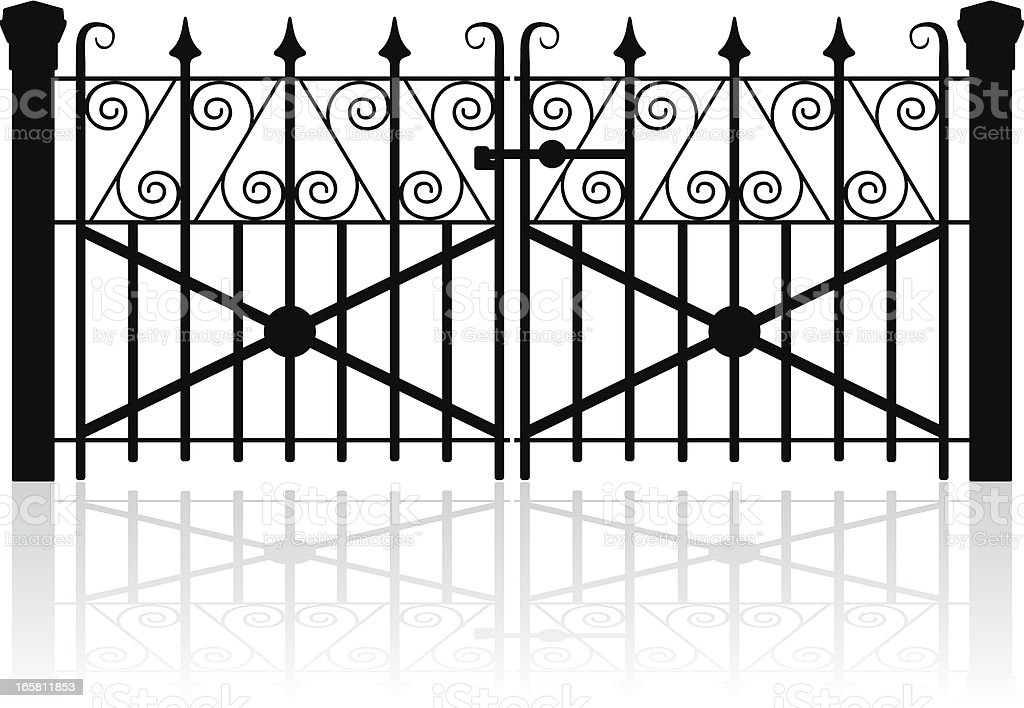 Wrought iron gate vector art illustration