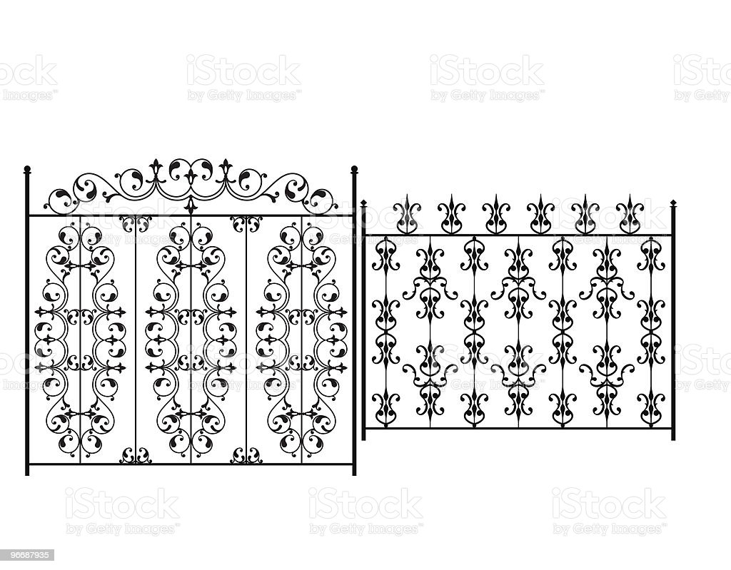 Wrought Iron Gate royalty-free stock vector art