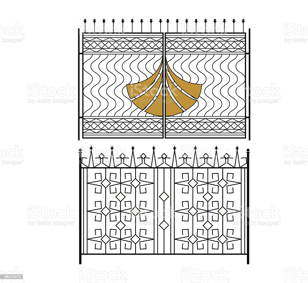 Wrought Iron Gate vector art illustration