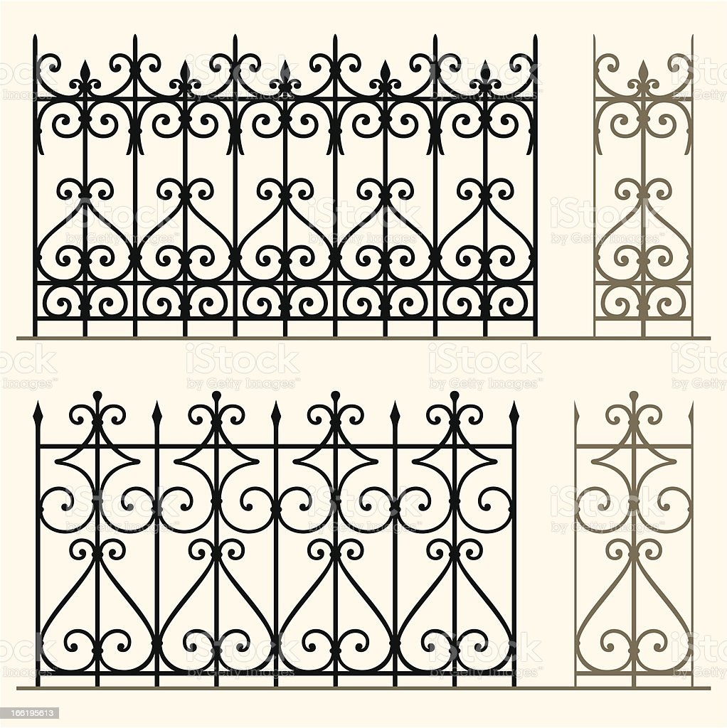 Wrought iron modular railings and fences vector art illustration