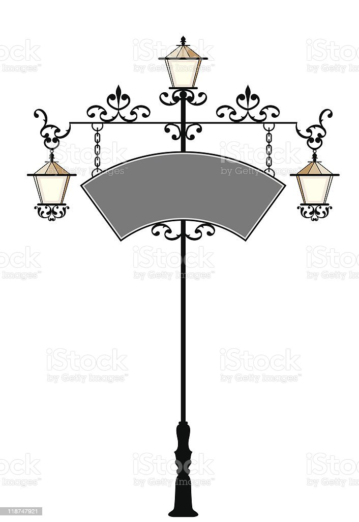 Wrought Iron Signage with Lamp vector art illustration