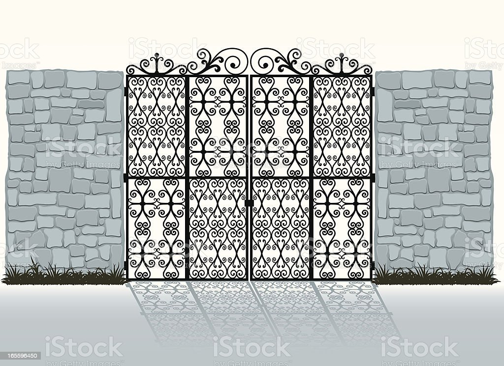 Wrought-iron gate and stone wall royalty-free stock vector art