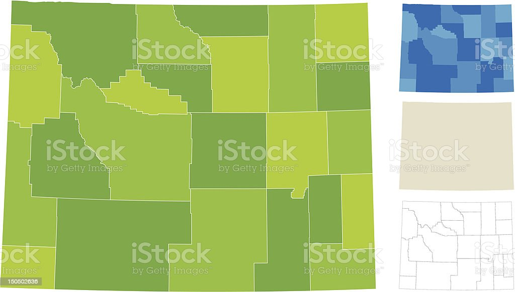 Wyoming County Map royalty-free stock vector art