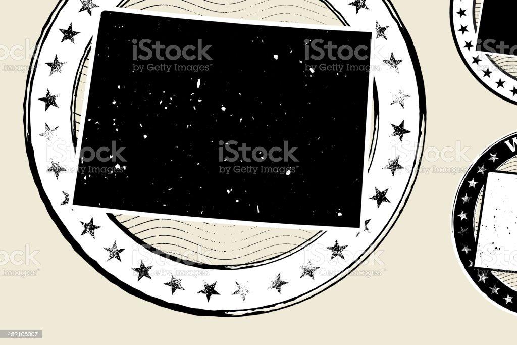 Wyoming Grunge Map Black & White Stamp Collection vector art illustration