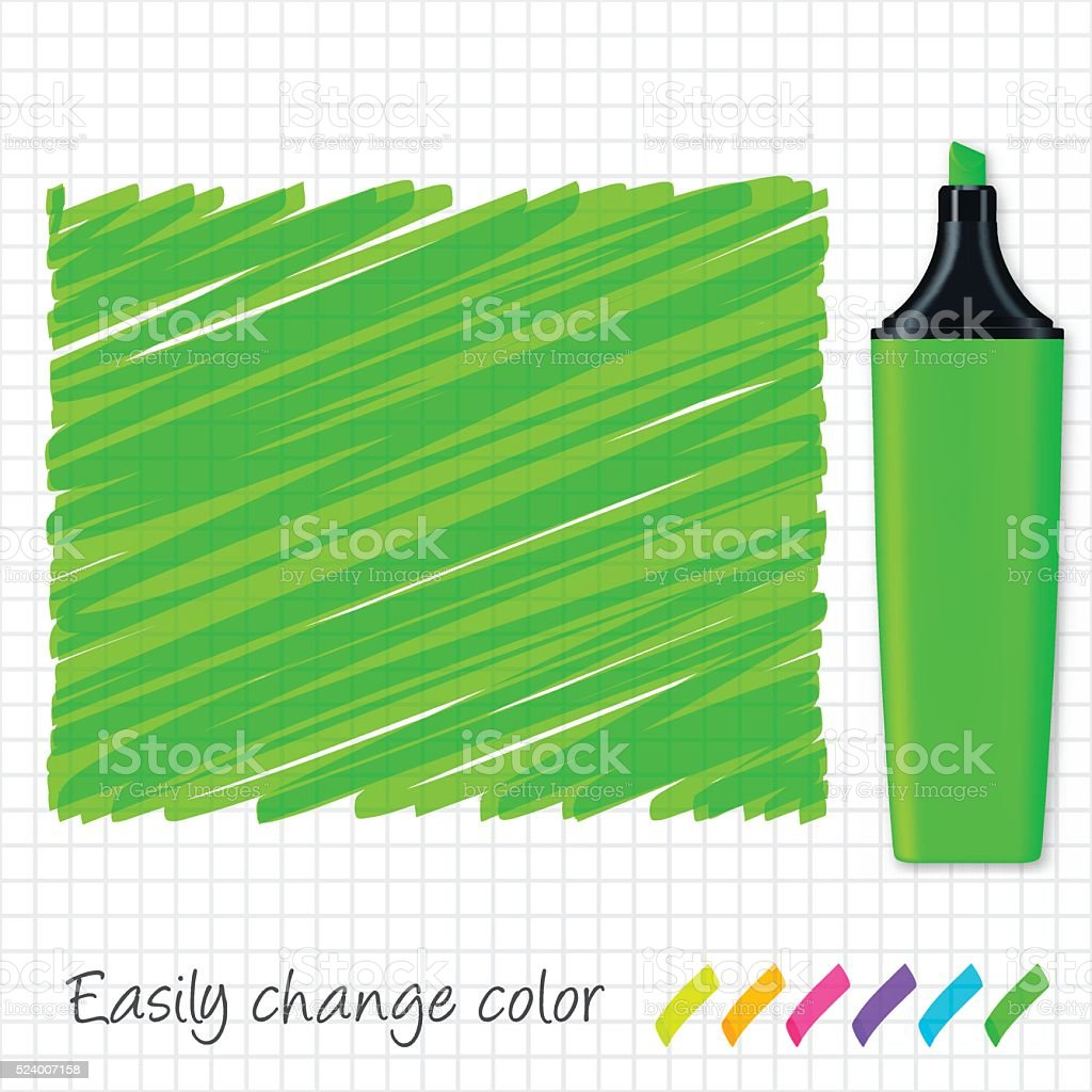 Wyoming map hand drawn on grid paper, green highlighter vector art illustration