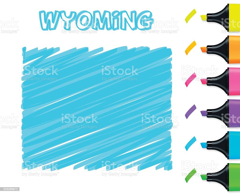 Wyoming map hand drawn on white background, blue highlighter vector art illustration