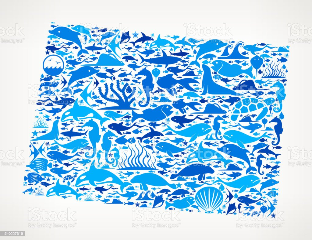 Wyoming Ocean Marine Life Blue Icon Pattern vector art illustration