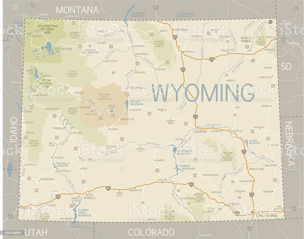 Wyoming State Map royalty-free stock vector art