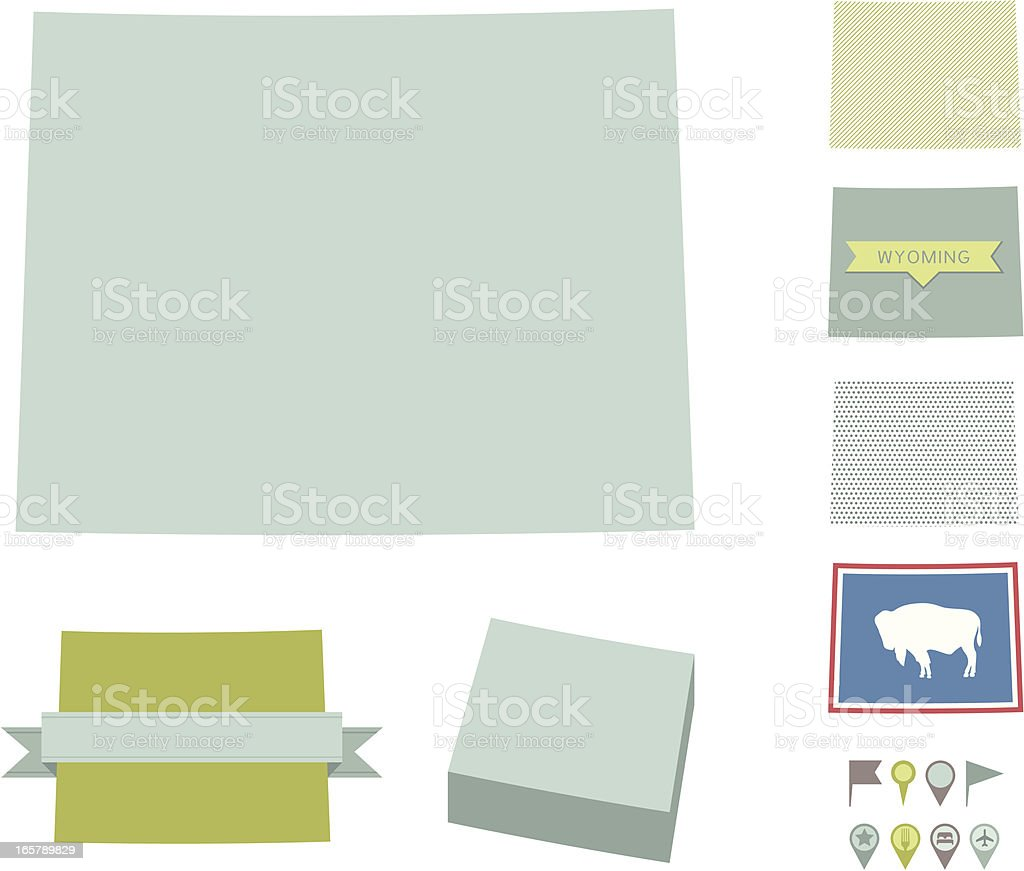 Wyoming State Maps royalty-free stock vector art