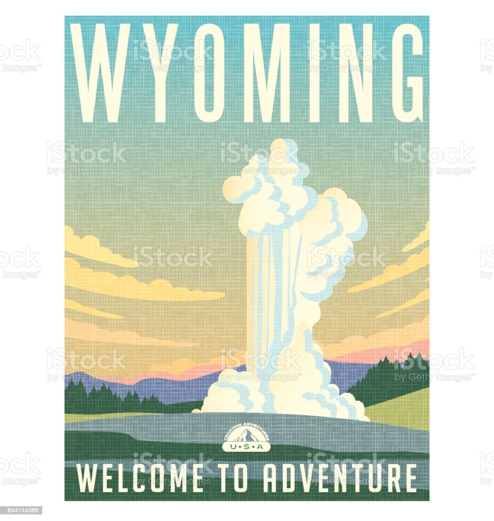 Wyoming travel poster or sticker. Vector illustration of water and steam erupting from geyser. vector art illustration