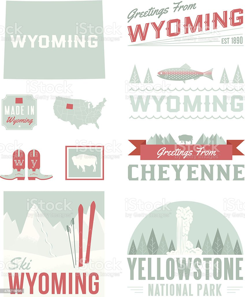 Wyoming Typography vector art illustration