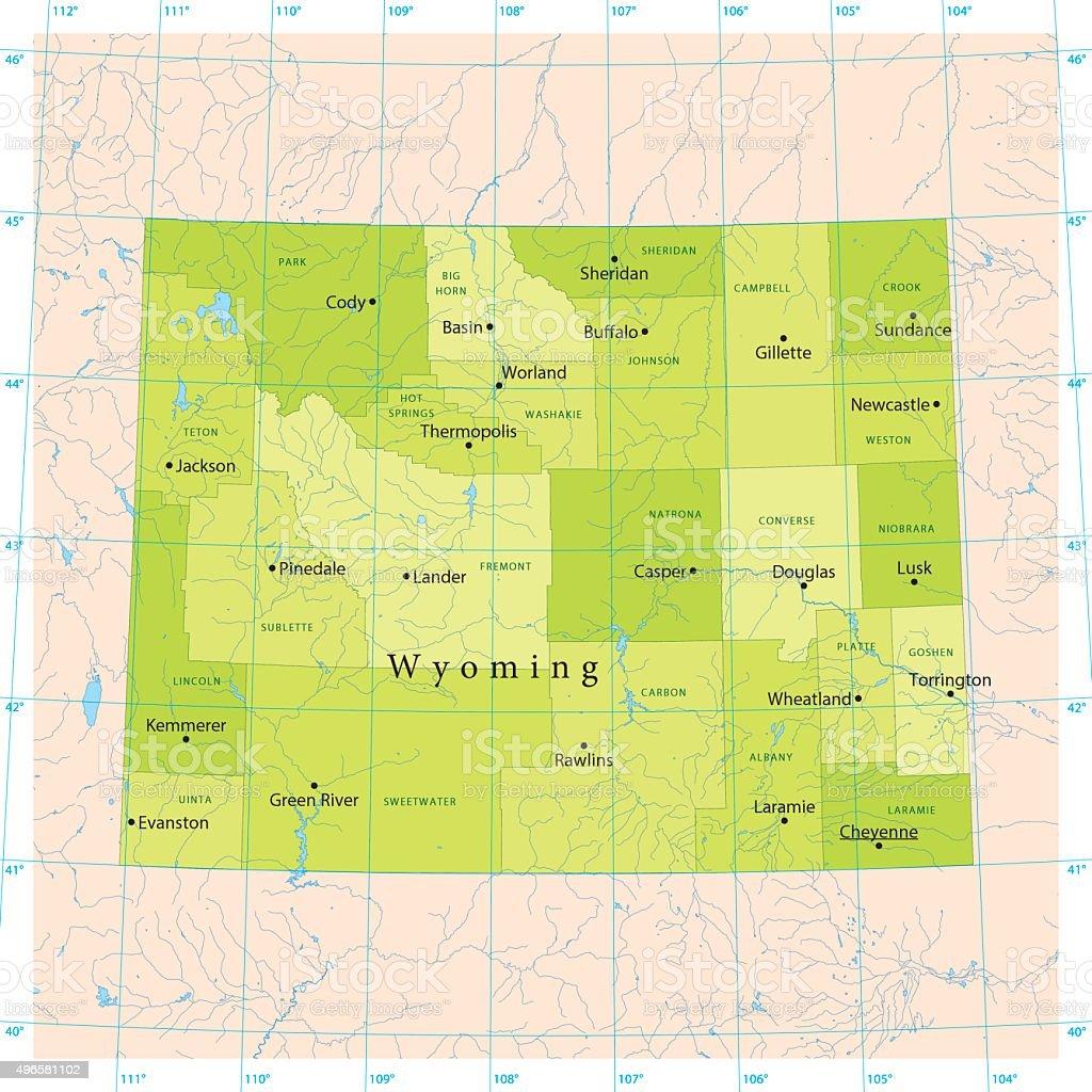 Wyoming Vector Map vector art illustration