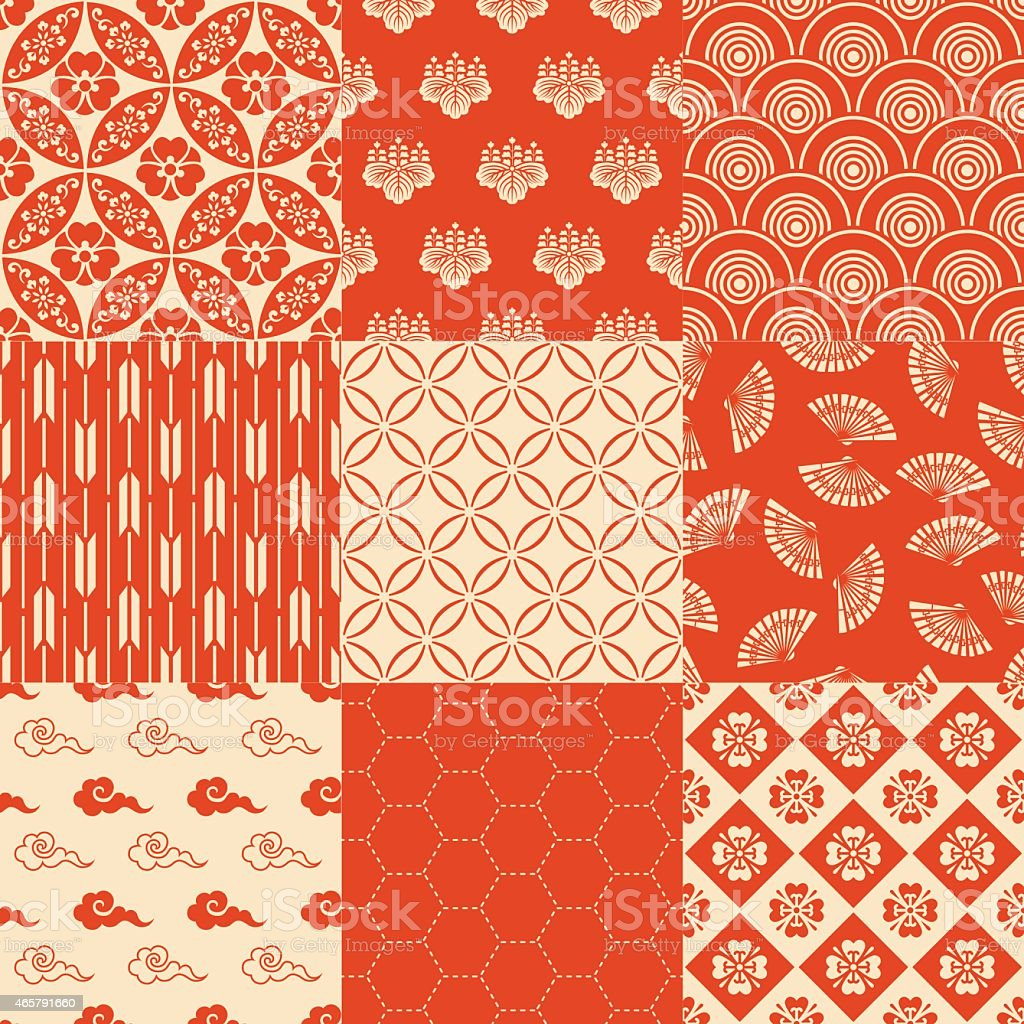 6 x 6 red seamless Japanese traditional mesh pattern vector art illustration