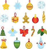 Xmas and new year tree decorations. Set of bright icons.