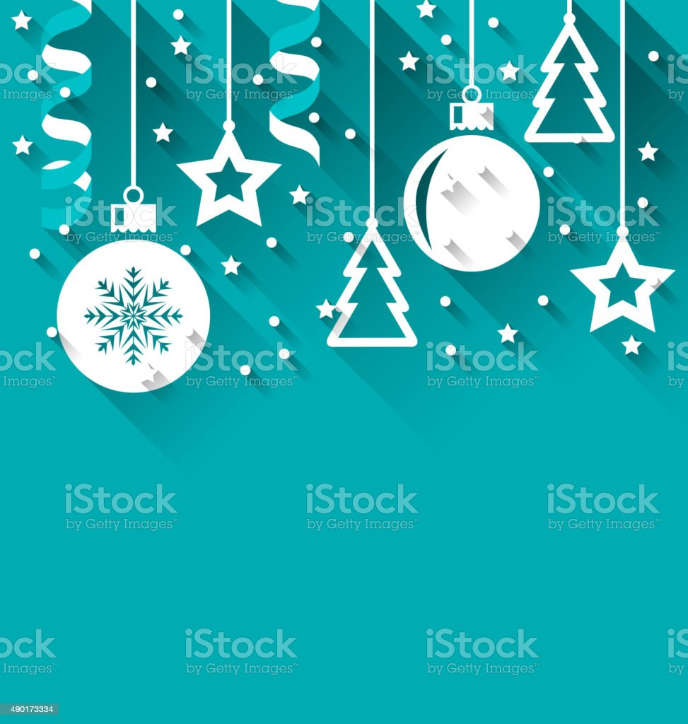 Xmas background with fir, balls, stars, streamer, trendy flat st vector art illustration
