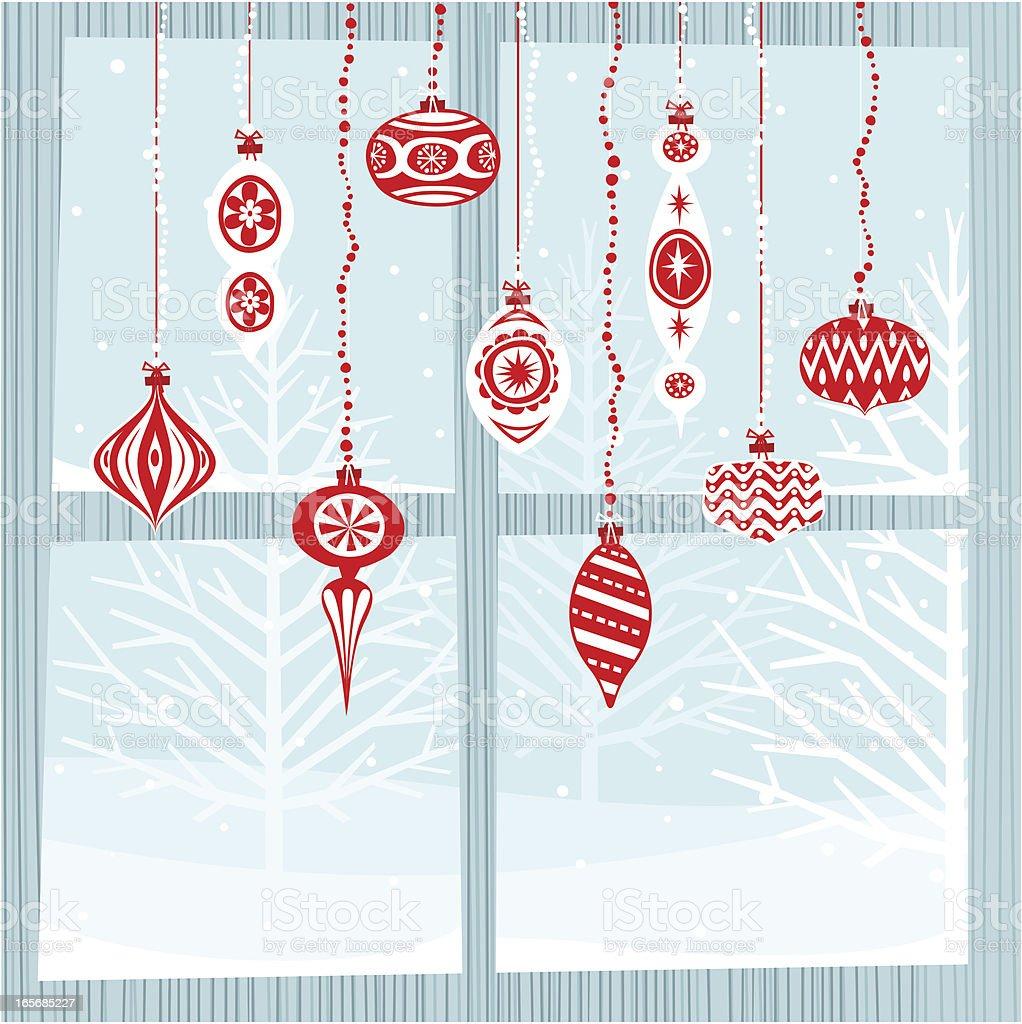 xmas bulbs on window vector art illustration