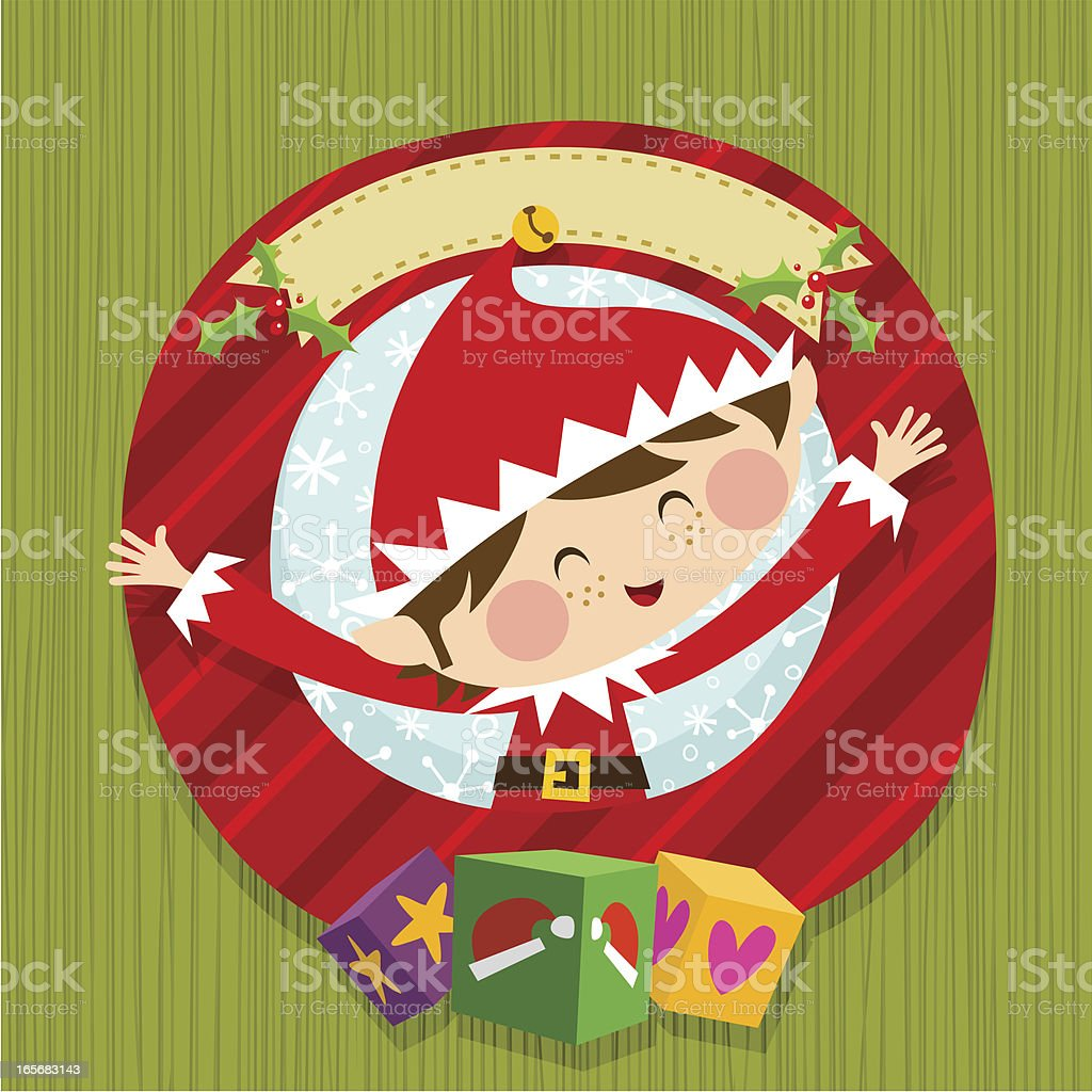 Xmas elf and gifts royalty-free stock vector art