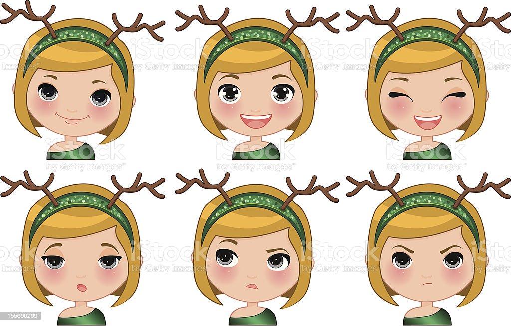 Xmas Girl expressions royalty-free stock vector art