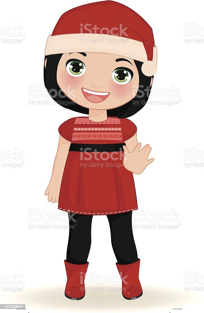 Navidad-Girl Saludar con la mano illustracion libre de derechos libre de derechos