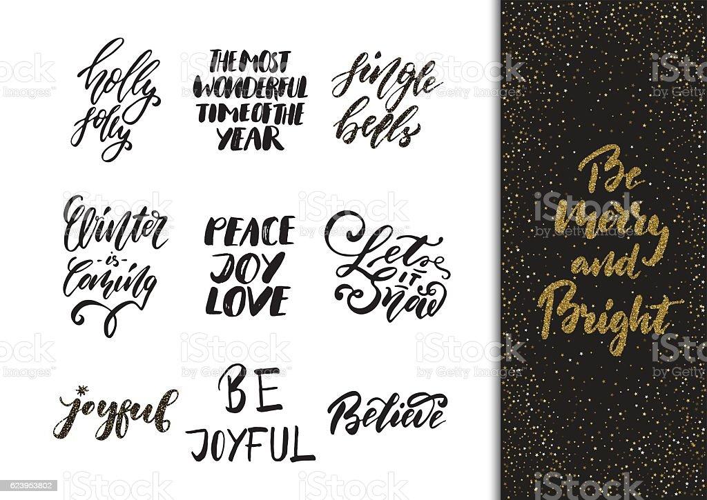Xmas hand drawn calligraphy and brush pen lettering set. vector art illustration
