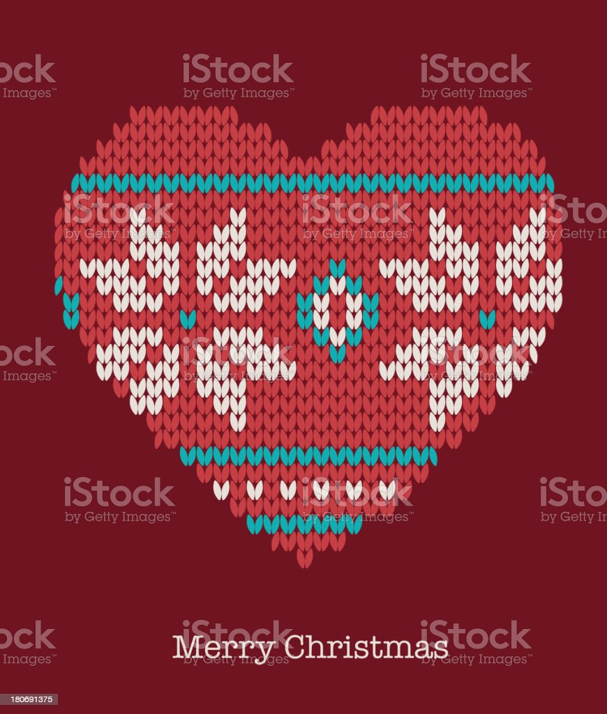 Xmas heart ornaments - seamless knitted background royalty-free stock vector art