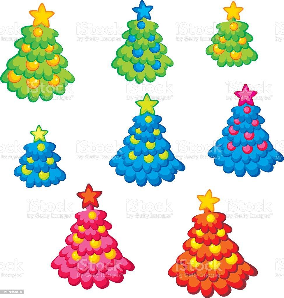 Xmas Holiday Childish Cute Christmas Tree stock vector art